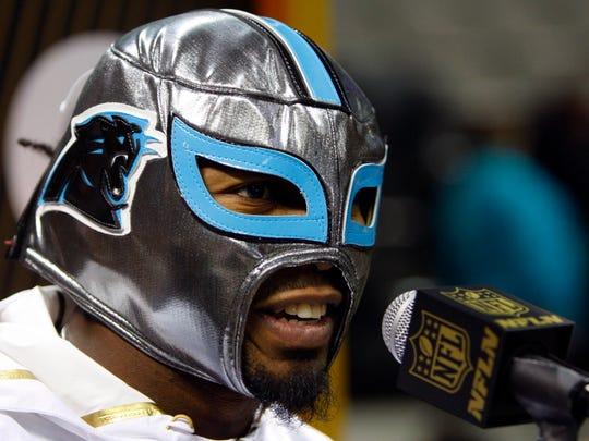 Carolina Panthers cornerback Josh Norman, wearing a