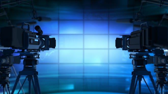 Behind the scenes of a television broadcast studio