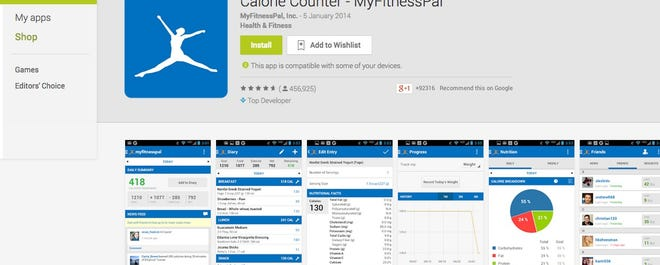 MyFitnessPal is a free app that counts calories.