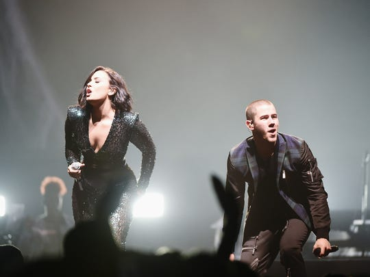 Demi Lovato, Nick Jonas perform during the '2016 Honda Civic Tour Featuring Demi Lovato & Nick Jonas: Future Now' tour at the Barclays Center on July 8, 2016 in New York City.