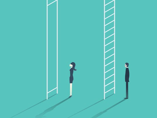 Business woman versus man corporate ladder career concept vector illustration