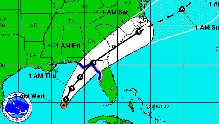 Tropical Depression 9 is forecast to hit the Big Bend