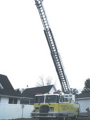 The ladder is stretched out to its full length for