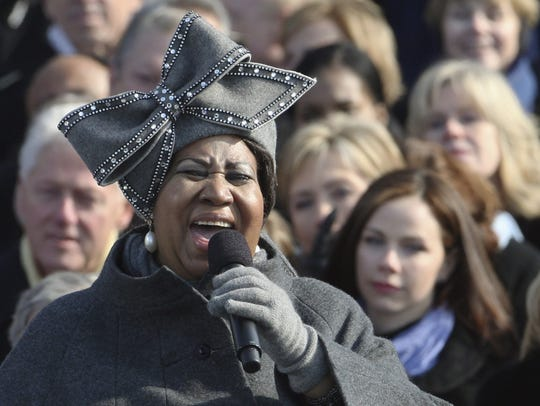 Aretha Franklin performs at the inauguration of President
