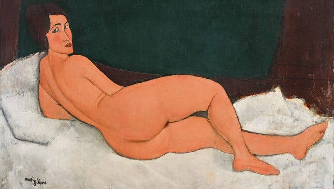 "This 1917 oil painting, ""Nu couche (sur le cote gauche)"" by Amedeo Modigliani, sold for $157 million at Sotheby's in New York as part of its Impressionist & Modern Art evening sale, May 14, 2018."