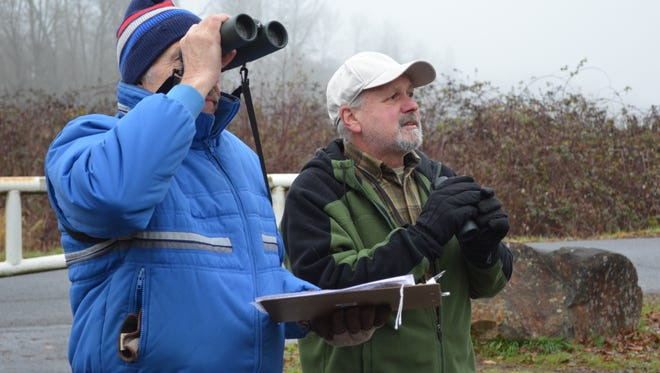 Ron Kopitke of Brooks, left, and Roy Gerig of Salem count and record birds during the 2011 Christmas Bird Count with the Salem Audubon Society on Minto Brown Island Park.