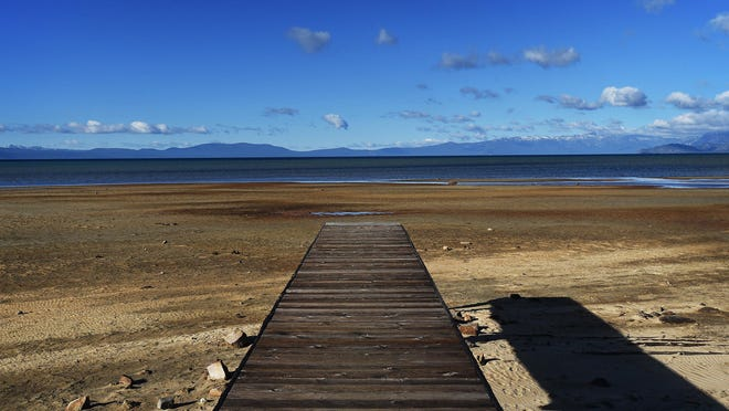 A landlocked dock is seen in South Lake Tahoe in January.