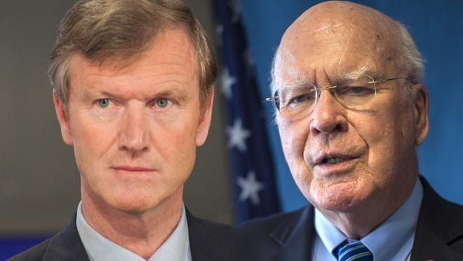 From left, Republican candidate for U.S. Senate Scott Milne and incumbent Democrat Patrick Leahy.