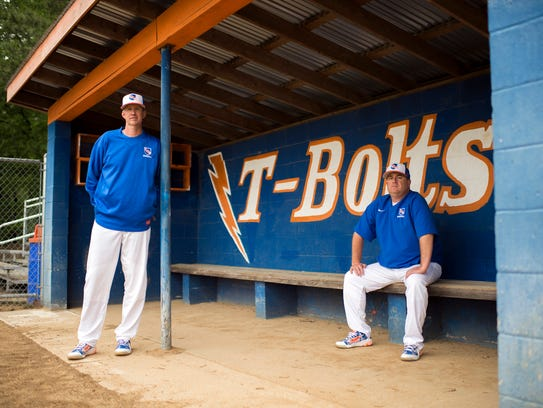 Millville baseball coaches Roy Hallenbeck, left, and