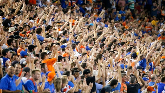 FC Cincinnati fans cheer as the defense makes a stop in the second half during the Lamar Hunt US Open Cup match between the Chicago Fire and FC Cincinnati, Wednesday, June 28, 2017, at Nippert Stadium in Cincinnati.