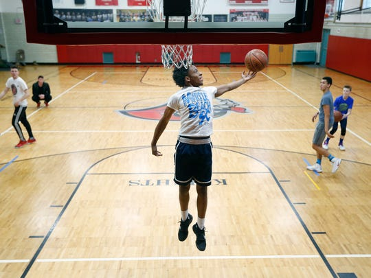 Northstar Christian Academy basketball player Michael Brown during practice.