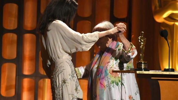 Angelina Jolie dances with Agnes Varda onstage Saturday