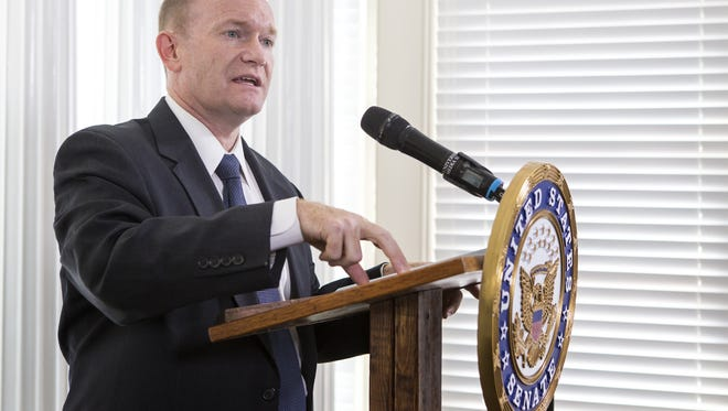 U.S. Sen. Chris Coons, D-Delaware, speaks at the University of Delaware on Sept. 1, 2015. Coons was named as a United Nations representative on Tuesday.