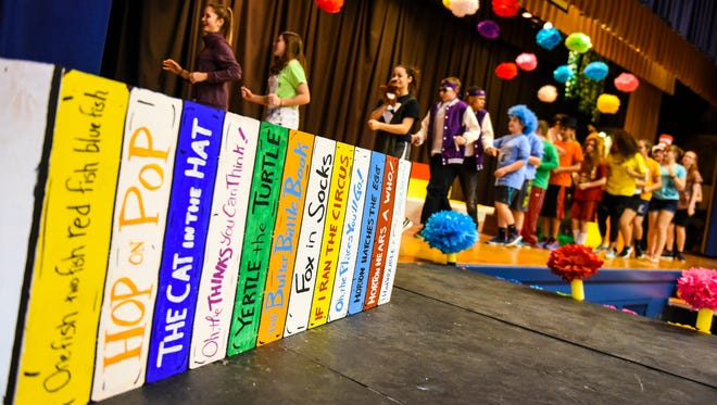 The cast and crew of Lebanon Catholic's production of Seussical rehearse on Tuesday, April 18, 2017.