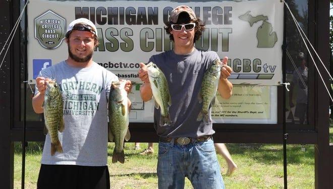 Brandon Bissell (Northern Michigan) and Easton Lovell (Kalamazoo Valley CC) teamed up to win the Michigan College Bass Circuit season opener at Gun Lake.