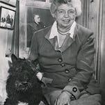 Eleanor Roosevelt and Fala, President Franklin D. Roosevelt's Scottish terrier, at Val-Kill in 1951.