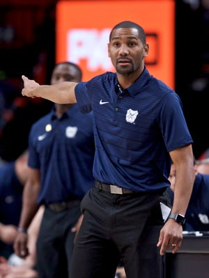 Butler head coach LaVall Jordan points during the second half of an NCAA college basketball game against Portland State in the Phil Knight Invitational tournament in Portland, Ore., Friday, Nov. 24, 2017.