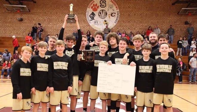 The Hayesville Middle School boys basketball team.