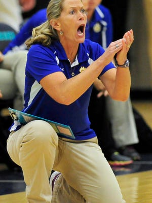 Goodpasture Head Coach Lynn Dearing yells during the final match against Trinity Christian during the Class A Girls's Volleyball Tournament at Siegel High School in Murfreesboro, Tenn., Friday, Oct. 24, 2014.