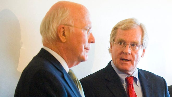 Senator Patrick Leahy (D-Vt.) (left) announced he is renewing his effort to make permanent the EB-5 Immigrant Investor Regional Center pilot program at a press conference at the Burlington International Airport in South Burlington on Friday, March 18, 2011, with  Bill Stenger, president and CEO of Jay Peak Resort.