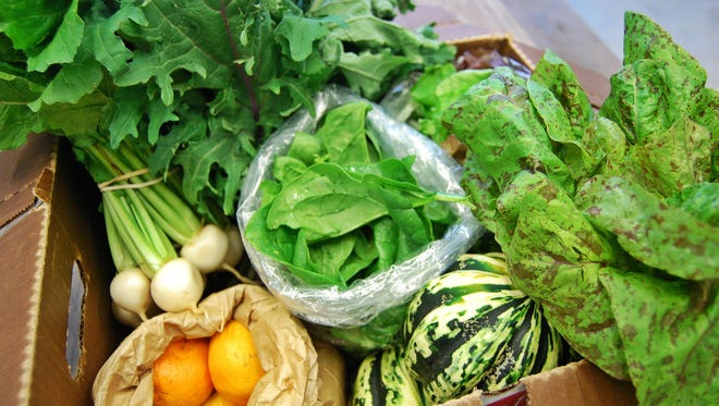 A box of produce prepared for a customer of Inglewood Farm's Community Shared Agriculture (CSA) Program.