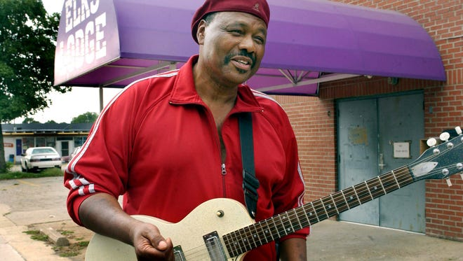 """Johnny Jones a local blues legend said, """"its the man not the guitar,"""" while standing in front of the Elks Lodge which used to be Club Baron where he played years ago on Jefferson Ave. Aug. 13, 2003."""