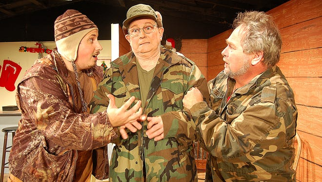"""Cast members (from left) Dylan Gamble, Clark Middleton and Michael Legenfelder sing a song from the Twin Lakes Playhouse production of """"A Good Old Fashioned Redneck Christmas"""" during a rehearsal Wednesday."""