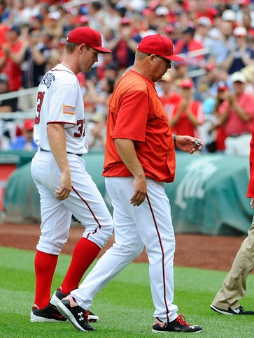 Stephen Strasburg exited his start Saturday after just