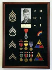 A shadow box showcasing Otto Schultz's military honors