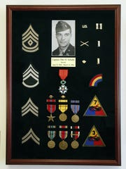 A shadow box showcasing Otto Schultz's military honors