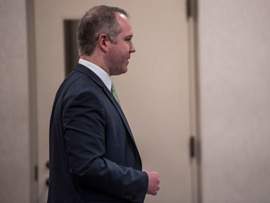 Defense attorney Lucas Collins at a hearing in Vermont