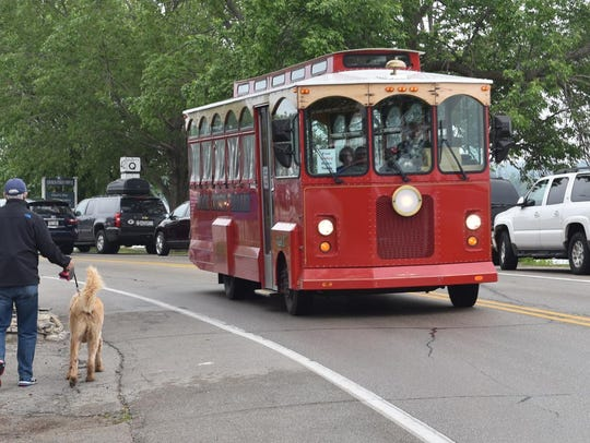 A Hometown Trolley operated by Door County Trolley