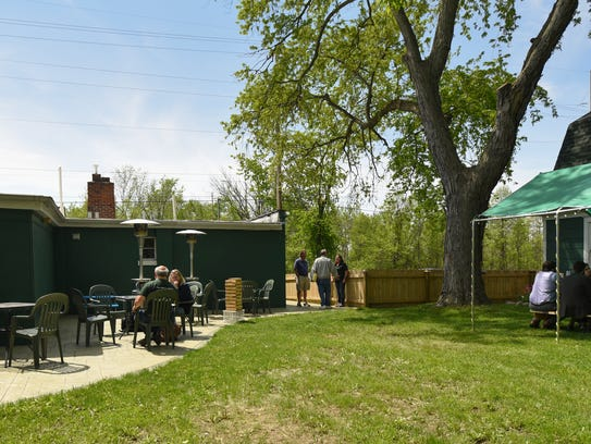 The beer garden area at EagleMonk Pub & Brewery in
