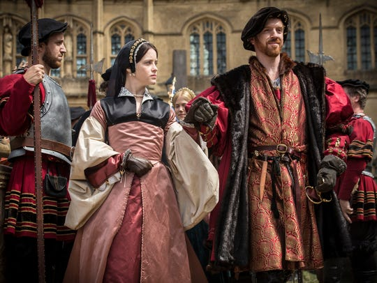 Shown from left to right: Claire Foy as Anne Boleyn