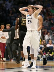 Xavier Musketeers guard J.P. Macura (55) gathers himself between plays in the second half of the second-round West Region NCAA Tournament game between the Xavier Musketeers and Florida State Seminoles, Sunday, March 18, 2018, at Bridgestone Arena in Nashville. Xavier lost 75-70.