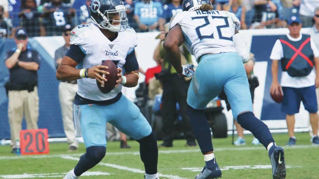 Benched after six games as starting quarterback, Marcus Mariota (8) has still had an impact on the Tennessee Titans' postseason preparation and performance as the team heads into Sunday's AFC Championship matchup at Kansas City.