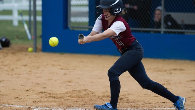 Eastern's Rachel Wood bunts against Bishop Eustace at the 35th annual Hammonton Invitational softball tournament Saturday, April 30 in Hammonton. Eastern won 5-3, placing first overall.
