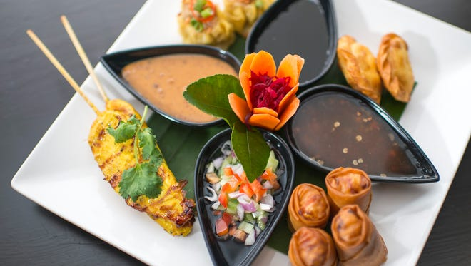 A sampler dish is a good introduction from Pinto Thong Thai Cuisine in Deptford.