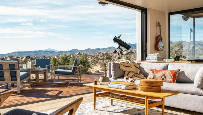 Wakanda Ranch is a Pioneertown Airbnb that boasts panoramic views of Joshua trees and boulders.