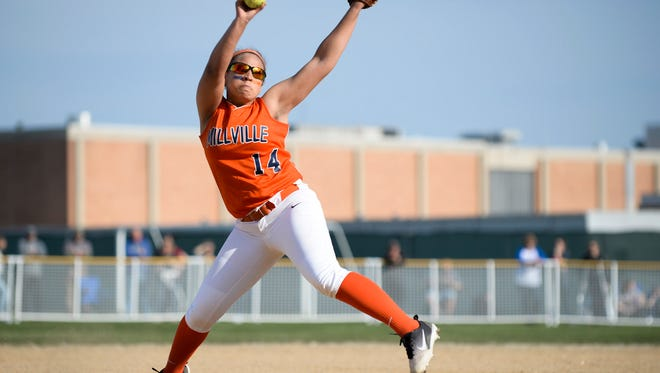 Millville's Mahogany Wheeler pitches in a 6-0 loss to Vineland last Thursday. The Thunderbolts rebounded to win Overbrook's Battle of the Conferences Tournament over the weekend.
