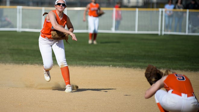 Megan Sooy throws to first in an early-season loss to Vineland. Sooy and the Thunderbolts are the No. 2 seed in South Jersey's Group 4 bracket. The Fighting Clan are No. 1.
