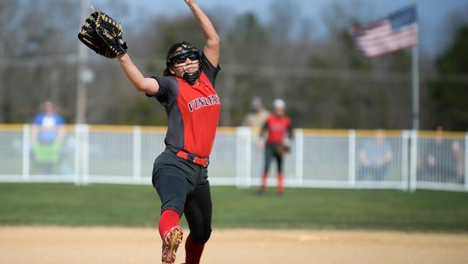 Vineland's Nicole Ortega (9) pitches against Millville Thursday, April 12, 2018 in Millville, N.J.