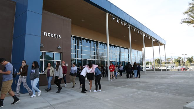 Students arrive for the Palm Springs International Film Festival's screening day.