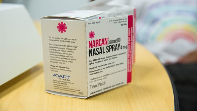 A box of Narcan nasal spray, an antidote to opioid overdose, is shown in this July 2017 file photo.