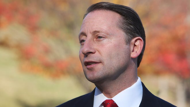 Westchester  County Executive Rob Astorino talks with the media after voting at the Hawthorne Elementary School Nov. 4.
