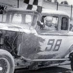Jim Leonard after winning a race in his No. 98 1932 Ford at Hornell Raceway. It's one of the many photos in Ford Easton's book on racing in the 1950s..