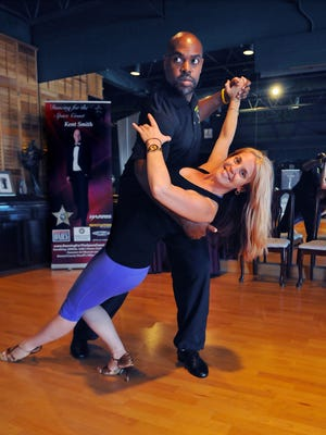 Desmond Blackburn, Brevard Public Schools superintendent, practices his waltz with instructor Heidi Arnold, owner of  Dancin' Dance Studio in Indialantic. They'll compete in Dancing for the Space Coast Saturday night at the Clemente Center in Melbourne.