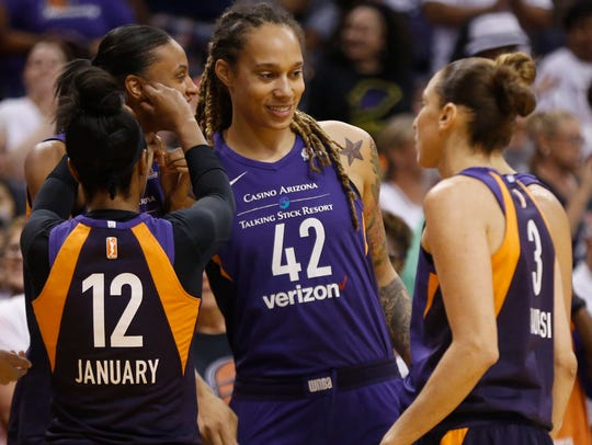 """""""We all love our teams. I don't think I could play anywhere else in the WNBA, I don't want to. I love Phoenix,"""" Brittany Griner said of playing for the Mercury."""