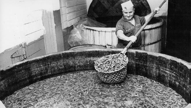 A worker at the former L.C. Forman Co. pickle factory in Pittsford scoops a strainer full of pickles from a brine vat. From there, the pickles would make there way to the cleaner, slicer and packager.