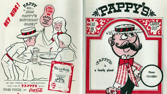 This is a 1975 menu from Pappy's, a pizza shop in the